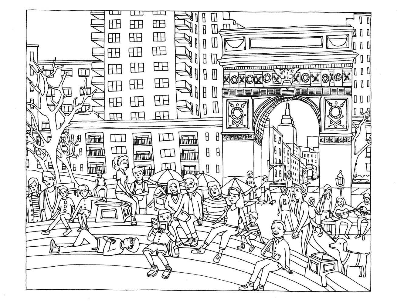 Free coloring pages new york city -  Nyc Book Washingtonsq